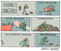 Reading is Dangerous Poster from Incidental Comics is part of Library humor - Signed by Grant and printed on 100 lb cardstock Online Store Powered by Storenvy I Love Books, Good Books, Books To Read, Speed Reading, Love Reading, Reading Room, Up Book, Book Nerd, Book Memes