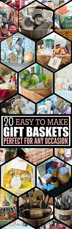 20 Unique DIY Gift Baskets That Are Super Easy To Make – Forever Free By Any Means I love these DIY gift basket ideas. These DIY gift baskets are super easy to make and are the perfect gifts for any occasion, such as birthdays, Christmas, and more. Themed Gift Baskets, Diy Gift Baskets, Raffle Baskets, Creative Gifts, Easy Gifts, Homemade Gifts, Cute Gifts, Unique Gifts, Christmas Baskets