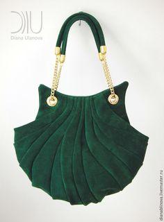 """Купить """"Ракушка винтаж"""" замша - тёмно-зелёный, однотонный, сумка женская, сумка ручной работы"""