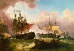 Phillip James De Loutherbourg - The Battle of Camperdown [1799]  #18th #boat #Classic #Painting #Phillip #James De #Loutherbourg #sea #ship