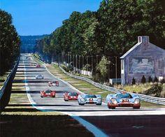 Tim Layzell painting. 'The True Film Stars' Porsche 917 & Ferrari 512