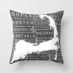 Throw Pillow 20 x 20 Cape Cod Towns by BrandiFitzgerald on Etsy, $55.00
