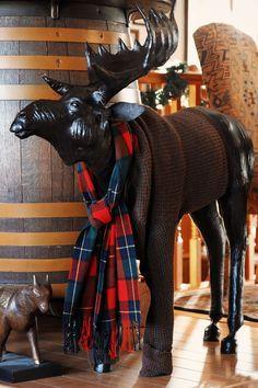 Moose statue w/tartan scarf.