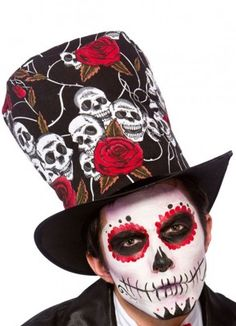 Day of the dead top hat ..impress your friends with this very cool hat www.party-head.co.uk £6.95