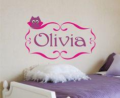 Baby Owl Nursery Monogram Vinyl Decal - Vinyl Lettering Wall Art. $21.00, via Etsy.