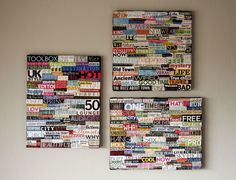 DIY collage art using recycled magazines and canvas