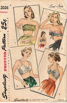 Vintage 1940s Bra Bathing Suit Tops Sewing Pattern Simplicity 2026 by PeoplePackages