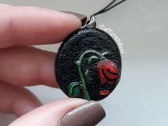 Polymer clay wilted flower pendant