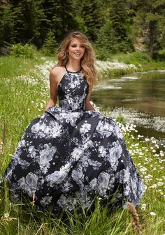 Morilee Prom 99060 -Floral Printed Larissa Satin Prom Gown with Delicate Beading. High Scoop Neckline and Strappy Back. Zipper Back Closure. Colors Available: Black/White Floral. - Morilee Prom Estelle's Dressy Dresses in Farmingdale , NY - Prom 2017 - Prom dresses