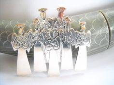 Singing Angels Vintage Earrings 925 Sterling Hearts Beads