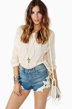 Free Ride Crochet Cutoff Shorts