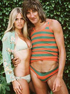 Rod Stewart Britt Ekland #1970'S Oh dear what are you wearing Rod?