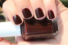 Essie Lady Godiva is a deep chocolate brown
