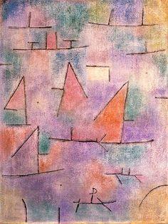 """""""Harbour with Sailing Ships,"""" 1937, Paul Klee. Oil on canvas; 60 x 80 cm. Musée National d'Art Moderne, Centre Georges Pompidou, Paris."""