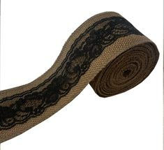 """3"""" Brown Burlap Ribbon With Black Lace 5 Yard Roll - Made in USA"""
