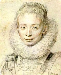 Chalk Portrait by Rubens; her nonchalant look, her hair, and the shading around her cheeks