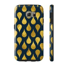 Navy and Gold Raindrops Phone Case