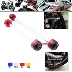 44.99$  Buy now - http://alicnd.worldwells.pw/go.php?t=32327659584 - For Triumph Daytona 675 2006-2014 Motorcycle Front & Rear Axle Fork Crash Sliders Wheel Protector Red