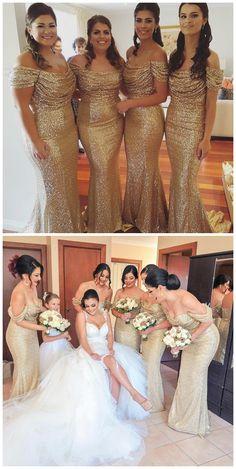 Gold Bridesmaid Dresses,Sequin Bridesmaid Dresses,Off The Shoulder
