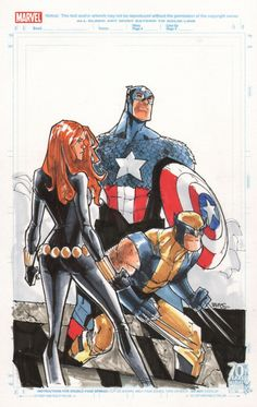 Black Widow, Wolverine, and Captain America by Humberto Ramos