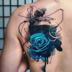 Watercolor rose tattoo blue rose tattoos, tattoos of roses, black tattoos. Badass Tattoos, Body Art Tattoos, Sleeve Tattoos, Cool Tattoos, Tatoos, Tattoo Ink, Rose Tattoo On Back, Back Tattoo, Pretty Tattoos
