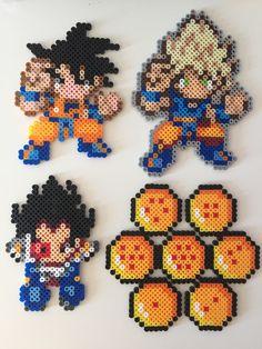 Dragon Ball Z (Goku, Super Saiyan Goku, Vegeta, Dragonballs) perler beads by Pixel Precious