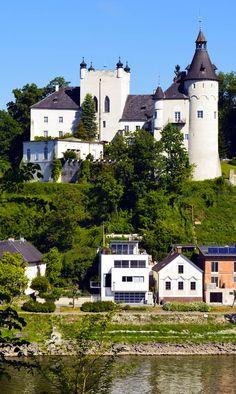Castle Ottensheim on Danube river near Linz, Austria.