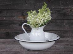 White Enamel Jug n Wash Bowl.