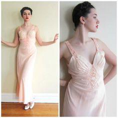 Vintage 1930s Nightgown in Bias Cut Peach Rayon
