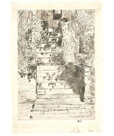 The Steps: 1915 by Childe Hassam - etching (Metropolitan Museum of Art, NY) Cos Cob, Architectural Drawings, Etchings, Inspiring Art, Metropolitan Museum, Graphite, Vintage World Maps, Architecture, Artist