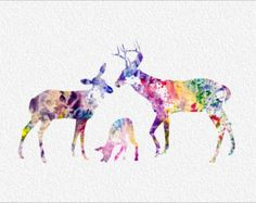 DEER FAMILY Archival Watercolor Art Print  5 x 7 Rainbow Watercolor Painting Print Wall Decor Home, Office, or Childrens Room or Nursery
