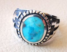 restructured natural turquoise oval blue stone by AbuMariamJewels