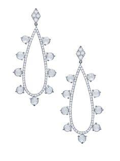 Martin Katz Pavé Teardrop & Rose-Cut Drop Earrings set in 18K white gold; 18 round rose-cut diamonds weighing 1.95 carats and microset with ...