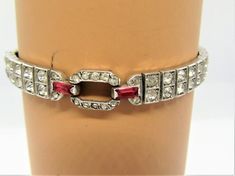 Excited to share the latest addition to my shop: Antique Sterling Silver Bracelet, Art Deco Setting, pat Cranberry Glass and Clear Glass Cabochons, Channel Setting Links Cranberry Glass Vase, Vintage Rhinestone, Link Bracelets, Sterling Silver Bracelets, Clear Glass, Unique Jewelry, Channel, Art Deco, Antique
