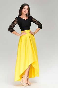 Chic Maxi Dress AssymetricalBlack Yellow Evening by Yellow Evening Dresses, Yellow Lace Dresses, Modest Dresses, Pretty Dresses, Formal Dresses, Skirt Outfits, Dress Skirt, Swag Dress, Dress Lace