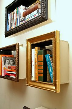 "Thrift Store Furniture Makeovers • Tutorials and ideas, including these ""DIY picture frame shelves"" by 'Change of Sceneries'!"