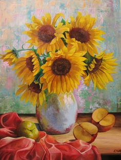 Sunflowers and apples by Kaitana.deviantart.com on @deviantART