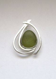 Sea Glass Jewelry  Sterling Olive Green Sea Glass by SignetureLine, $90.00