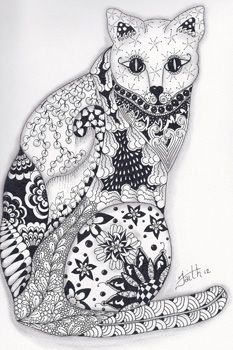 Image Detail for - Calico cat | Zentangled Zoo