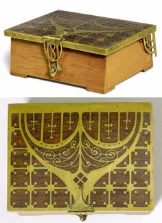 ERHARD & SӦHNE BOX, 1910, wood and brass intarsia. Rectangular with Art Nouveau ornaments. L 13.5 cm.     SOLD $520 Koller Auction, June 27, 2011