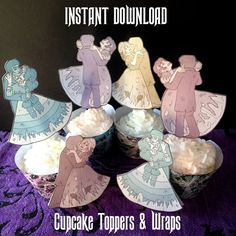 Ghost Cupcake Toppers and Wraps - Instant Download - Printable Disneyland Haunted Mansion Phantom Manor Halloween Cup Cake Wrappers Topper