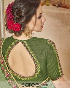 Green Embroidered Back Keyhole Blouse Design