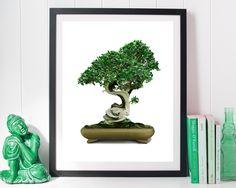 Bonsai Tree, bonsai print, green home decore, nature green, Printable Wall Art, zen wall decor, scandinavian, Art Prints, Minimalist Print #giftidea #birthdaygiftideas #housewarminggift