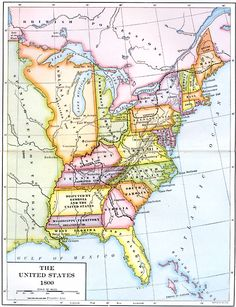 The United States 1800 Shows Territorial Claims Of The States