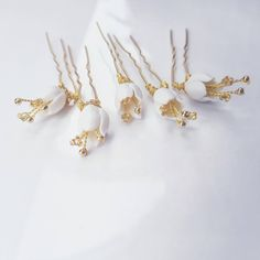 """""""Porcelain flower hair U pins in gold"""" Tarnished Jewelry, Wire Jewelry, Flower Girl Halo, Brenda Lee, Flower Hair Accessories, Circlet, Lily Of The Valley, Flowers In Hair, Hair Pins"""