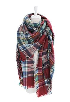 POSESHE Plaid Blanket Thick Winter Scarf Tartan Chunky Wrap Oversized Shawl Cape -- Click on the image for additional details. (This is an affiliate link)
