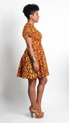 African wax print fit and flare dress with short by ALeapOfStyle