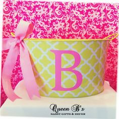 Custom monogrammed buckets by Queen B's Sassy Gifts & Decor. Check us out at https://www.facebook.com/QueenBsSassyDecor
