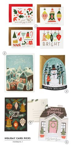 A roundup of illustrated holiday cards from My Dear Fellow Co., Quill & Fox, Rifle Paper Co., and 1Canoe2.