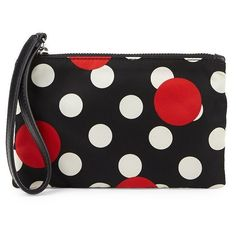RED Valentino Polka-Dot Zipper Wristlet ($60) ❤ liked on Polyvore featuring bags, handbags, clutches, purse wristlet, polka dot purse, nylon purse, purse clutches and zipper handbags